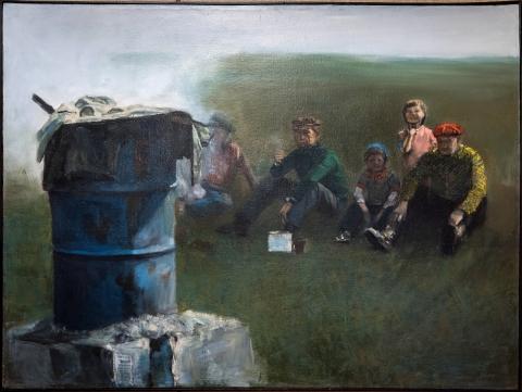 """Mirosław Górski, """"Scena rodzajowa z beczką"""", 1982 r."""